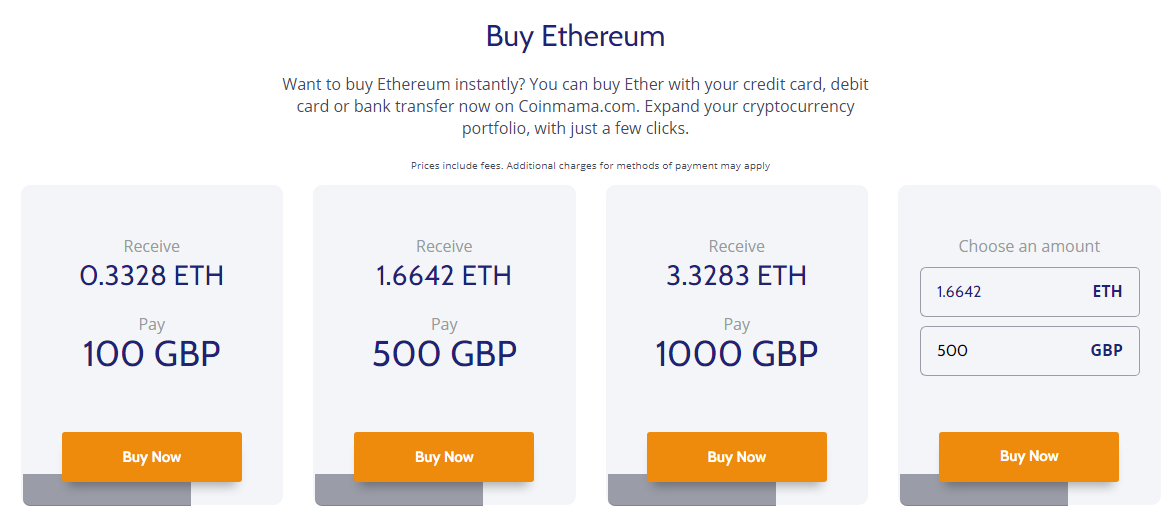 Buy ETH on Coinmama