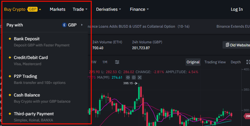 Buy ETH on Binance