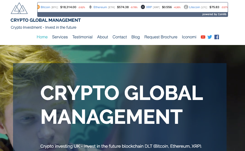 Crypto Global Management fund homepage