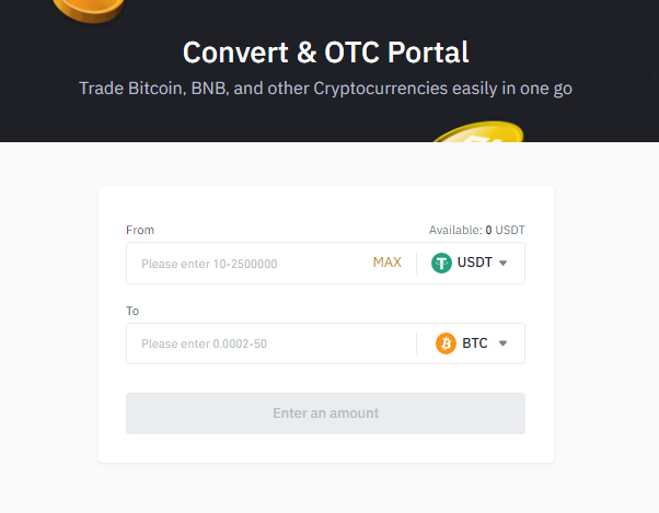 Convert one crypto to the other Binance